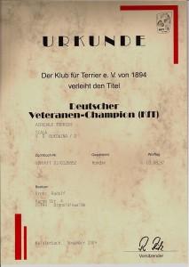 Sally's Urkunde zum Veteranenchampion des KfT