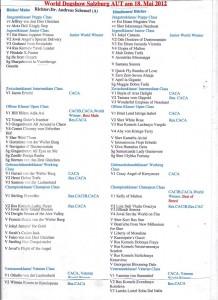 Die Ergebnisliste der Airedales zur Weltausstellung 2012 in Salzburg.