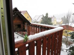 """Kalt, Schnee, Blick vom Wohnzimmer über den Balkon - ein """"Rückfall""""."""