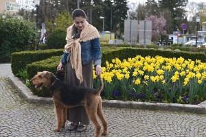 Ja, richtig in Pose gestellt, er ist ein imposanter Hund und sehr gut erzogen.