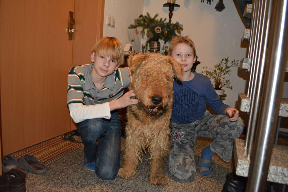 Unser derzeitig ältester Hund, Danilo 15 Jahre alt am 22.12.2015, mit beiden jungen Herrchen, kurz vor der neuen Frisur, damit zu Weihnachten alles perfekt ist. Ganz toll und sehr schöner Bilderguss zu Weihnachten.