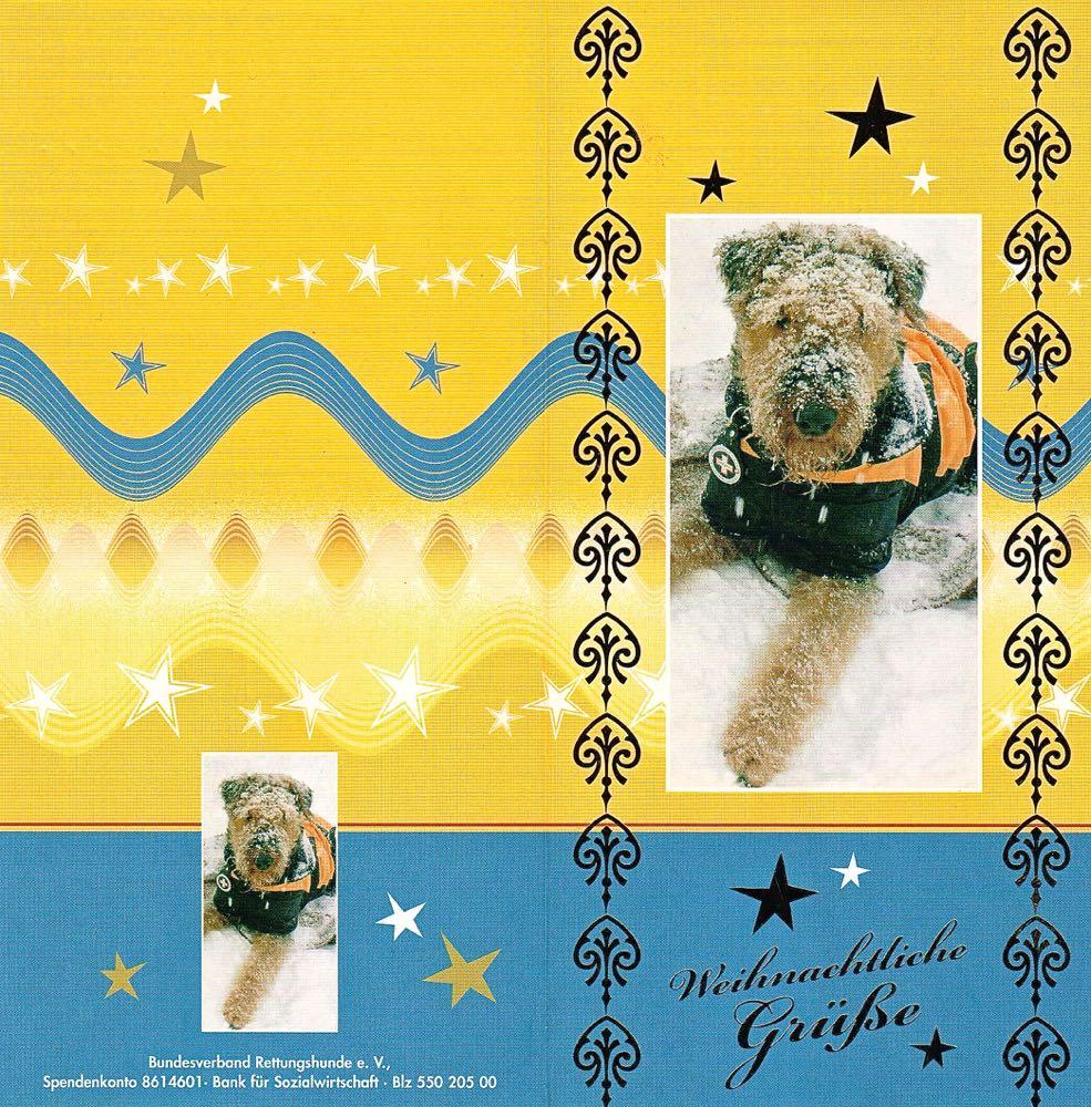 Kartengrüsse von Petula aus Moritzburg (mit Bild von einem Airedale als Rettungshund).
