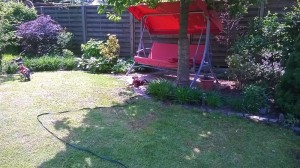 Zakira zu Hause, so ein schöner grosser Garten, viele Pflanzen, dasFahrrad vom jungen Herrchen usw.