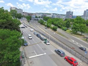 Hier noch ein Blick vom Schloss auf die Strassen in Saarbrücken.